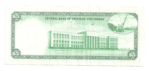 billete trinidad & tobago 5 dollars (1977) escaso