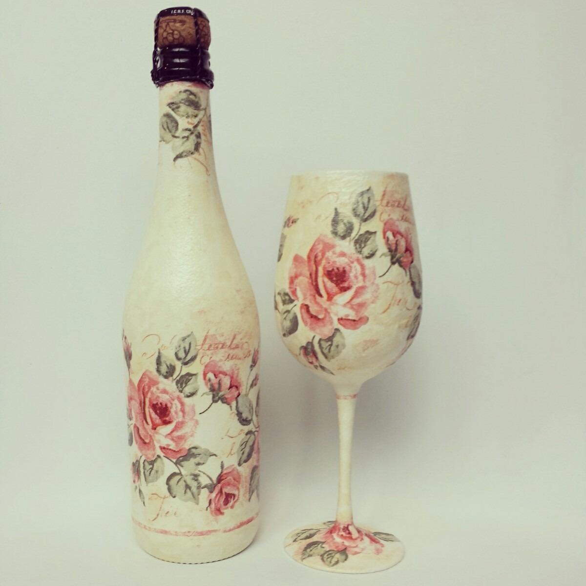 Botellas decoradas de quince aos jongose botellas de - Como decorar copas de cristal ...