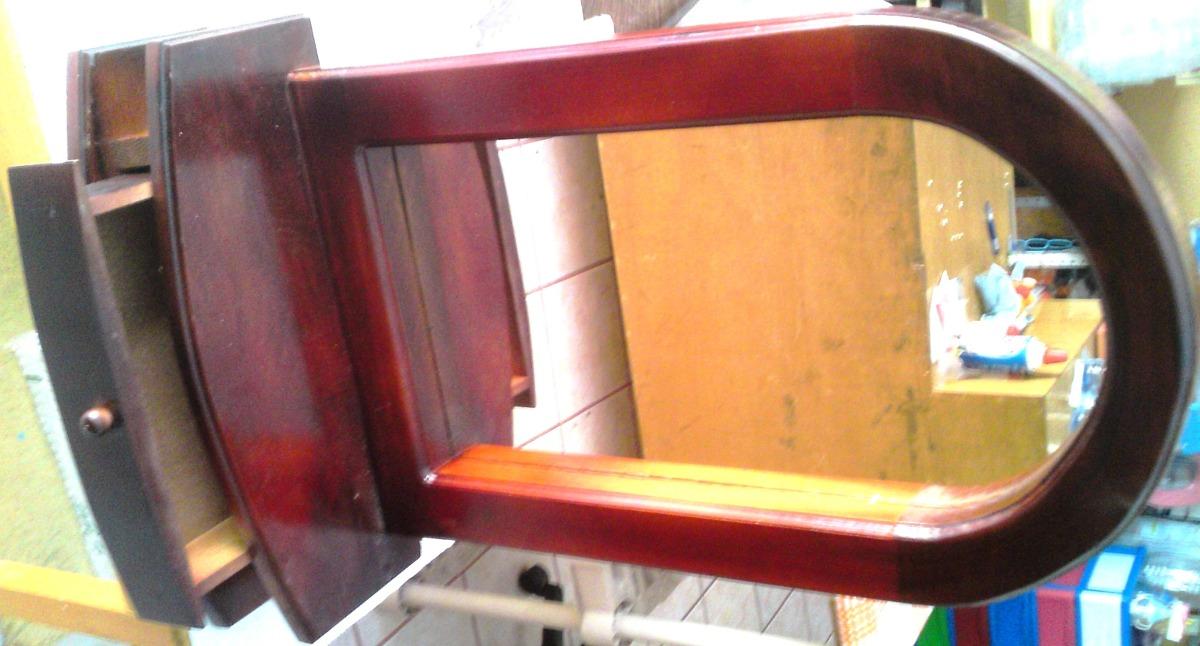 Espejo marco de madera cajon alhajero repisa mesa pared for Espejos de pared con marco de madera