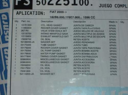 jgo. completo empaques motor fiat palio 1.6l 16v 2004-2005