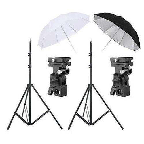 kit de iluminacion fotografia sombrilla negra blanca flash