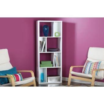 Librero crea muebles lc5bl moderno blanco 5 en for Crea muebles