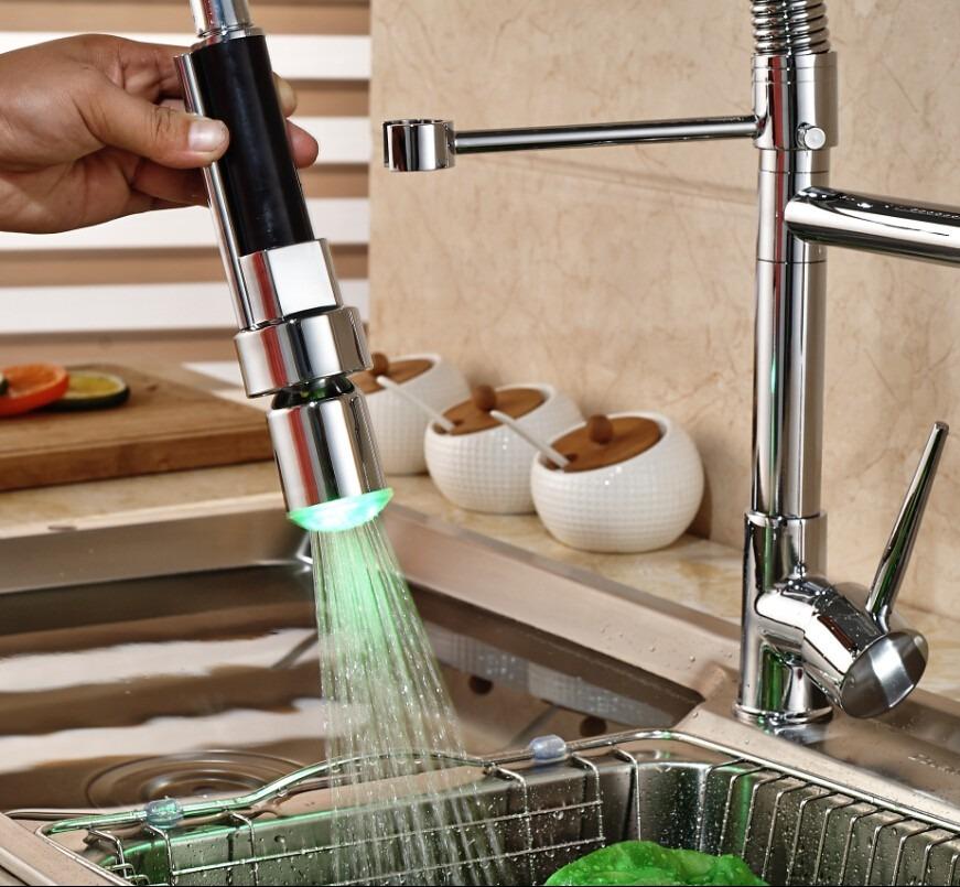 Llave con luz led mezcladora cocina monomando 1 - Llaves de luz precios ...