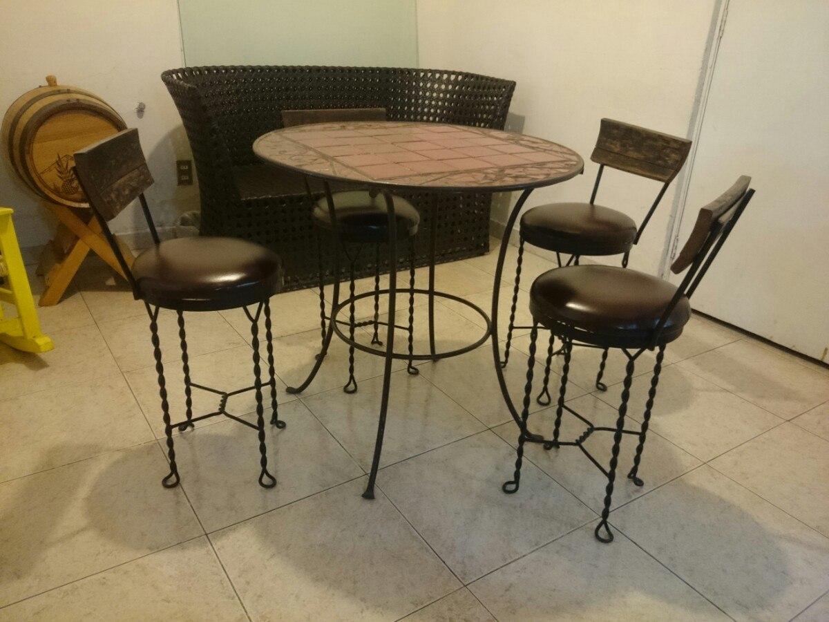 Mesa comedor de forja azulejo y madera 5 en - Sillas de forja para comedor ...