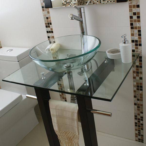 Mueble con lavabo y espejo de cristal modelo vigo - Lavabos de cristal de colores ...