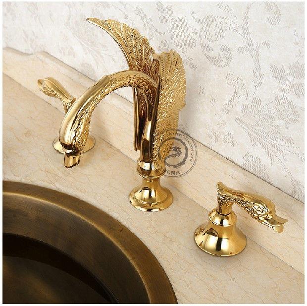 Set De Griferia Para Baño:Set De Grifo Y Llaves De Baño Con Forma De Cisne – $ 5,61762 en