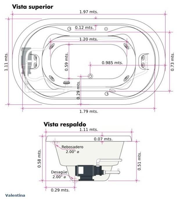 Tinas De Baño Hydromax:Tina C/hidromasaje Valentina (197 X 111 X 58) Hydromax – $ 30,57400